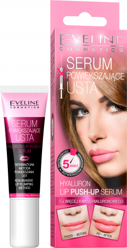 EVELINE - HYALURON LIP PUSH UP SERUM - Koloryzujące serum powiększające usta