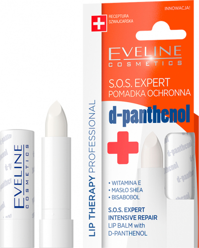 EVELINE - LIP THERAPY PROFESSIONAL -  S.O.S. EXPERT - Ochronna pomadka do ust z d-panthenolem