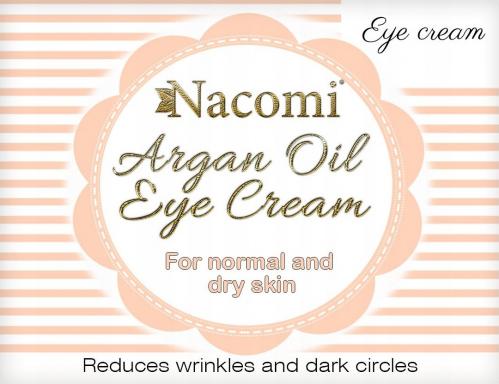 Nacomi - Argan Oil Eye Cream - Krem pod oczy z marokańskim olejem arganowym oraz olejem z pestek winogron