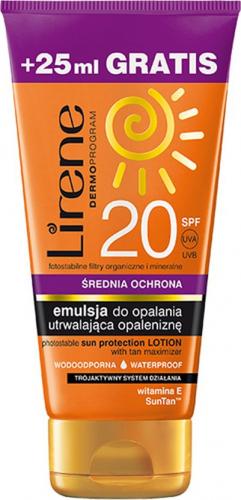 Lirene - EMULSJA DO OPALANIA utrwalająca opaleniznę - SPF20 - 150 ml + 25 ml