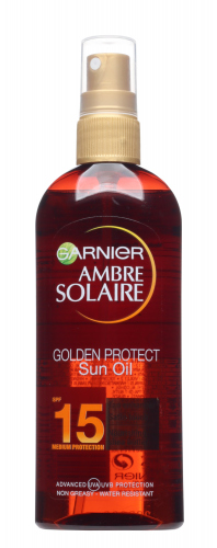 GARNIER - AMBRE SOLAIRE - GOLDEN PROTECT Sun Oil - Wodoodporny olejek ochronny do ciała - SPF15