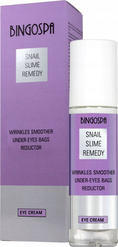 BINGOSPA - SNAIL SLIME REMEDY - WRINKLES SMOOTHER UNDER EYES BAGS REDUCTOR - Smoothing eye cream with snail slime - 50g