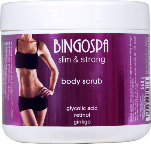 BINGOSPA - Slim & Strong - Body Scrub - Coarse body scrub with glycolic acid, retinol and ginkgo - 550g