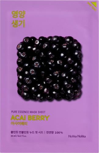 Holika Holika - Pure Essence Mask Sheet Acai Berry - Maseczka do twarzy w płacie z ekstraktem z owoców Acai