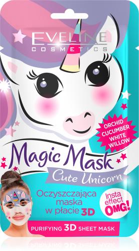 EVELINE - Magic Mask - Oczyszczająca maseczka do twarzy w płacie - Cute Unicorn