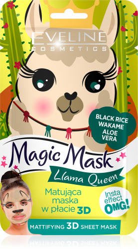 EVELINE - Magic Mask - Matująca maseczka do twarzy w płacie - Lama