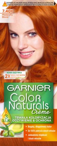 GARNIER - COLOR NATURALS Creme - Trwała, odżywcza koloryzacja do włosów - 7.40 Miedziany Blond