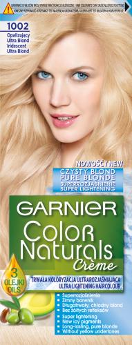 GARNIER - COLOR NATURALS Creme - Pure Blond - Trwała, odżywcza koloryzacja do włosów - 1002 Opalizujący Ultra Blond