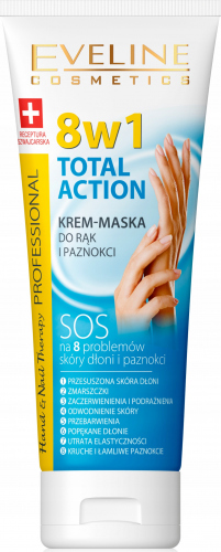 EVELINE - Hand & Nail Therapy Professional - TOTAL ACTION - Krem-maska do rąk i paznokci 8w1 - 75 ml