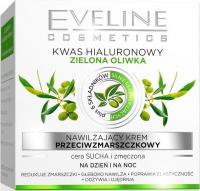 EVELINE - Nawilżający krem przeciwzmarszczkowy do twarzy z kwasem hialuronowym i zieloną oliwkę - 50 ml