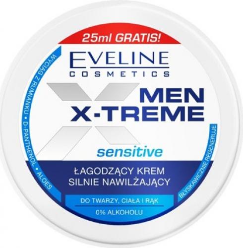 EVELINE - MEN X-TREME Sensitive - Łagodząco-nawilżający krem do twarzy, ciała i rąk - 100 ml