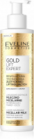 EVELINE - GOLD LIFT EXPERT MICELLAR MILK - Luxurious nourishing micellar lotion for face and eye makeup removal - 200 ml