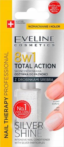 EVELINE - NAIL THERAPY PROFESSIONAL - TOTAL ACTION - SILVER SHINE - Skoncentrowana odżywka do paznokci z drobinkami srebra