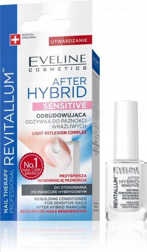 EVELINE - NAIL THERAPY PROFESSIONAL - REVITALUM - AFTER HYBRID SENSITIVE - Odbudowująca odżywka do wrażliwych paznokci - Po manicure hybrydowym - 12 ml