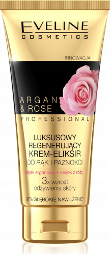 EVELINE - ARGAN & ROSE PROFESSIONAL - Luksusowy krem-eliksir do rąk i paznokci - Róża i Olej arganowy - 100 ml
