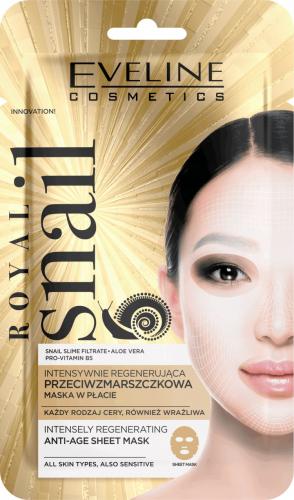 Eveline Cosmetics - ROYAL SNAIL ANTI-AGE SHEET MASK - Intensywnie regenerująca, przeciwzmarszczkowa maska do twarzy