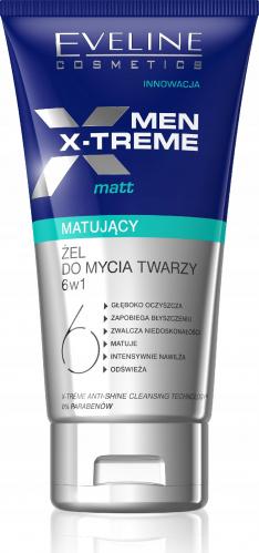 EVELINE - MEN X-TREME MATT - Matujący żel do mycia twarzy dla mężczyzn 6w1 - 150 ml