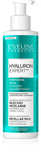 EVELINE - HYALURON EXPERT MICELLAR MILK - Moisturizing cleansing milk for face and eyes - 200 ml
