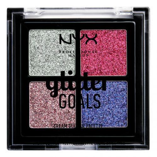 NYX Professional Makeup - Glitter Goals Cream Glitter Palette - Paleta 4 brokatowych cieni do powiek - 03 LOVE ON TOP
