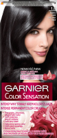 GARNIER - COLOR SENSATION - Permanent hair coloring cream - 1.0 Ultra Onyx Black