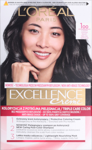 L'Oréal - EXCELLENCE Creme - Koloryzacja do włosów z potrójną pielęgnacją - 100 Czerń