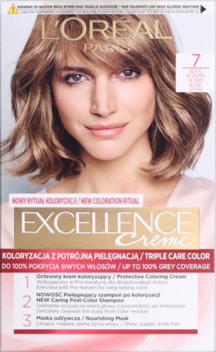L'Oréal - EXCELLENCE Creme - Koloryzacja do włosów z potrójną pielęgnacją - 7 Blond