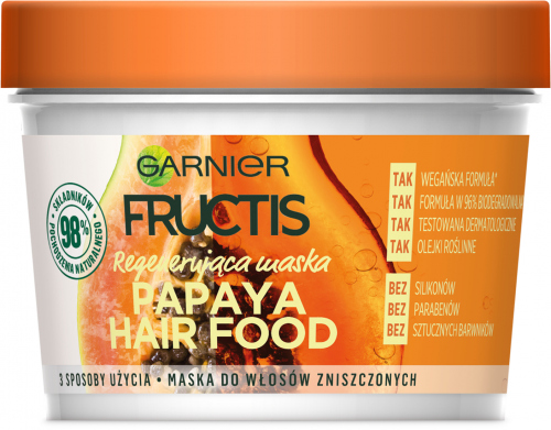 GARNIER - FRUCTIS - PAPAYA HAIR FOOD MASK - Regenerująca maska do włosów zniszczonych - Papaja