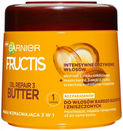 GARNIER - FRUCTIS - OIL REPAIR 3 BUTTER - Maska wzmacniająca 3w1 do włosów bardzo suchych i zniszczonych - 300 ml
