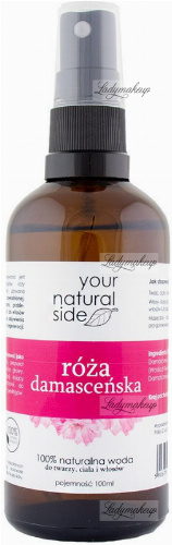 Your Natural Side - 100% Natural Damascene Rose Water - 100 ml - Spray