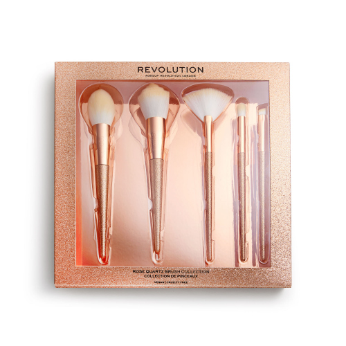 MAKEUP REVOLUTION - PRECIOUS STONE - BRUSH COLLECTION - Zestaw 5 pędzli do makijażu - ROSE QUARTZ