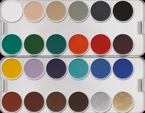 KRYOLAN - AQUACOLOR Make up Palette - Paleta 24 farb wodnych do malowania twarzy - ART. 1108