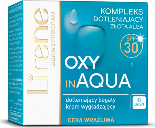 Lirene - OXY in AQUA - Wygładzający krem dotleniający do cery wrażliwej - SPF30 - 50 ml