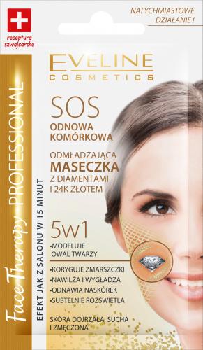 EVELINE - FACE THERAPY PROFESSIONAL - SOS ODNOWA KOMÓRKOWA - Odmładzająca maseczka do twarzy z diamentami i 24K złotem - Skóra dojrzała, sucha i zmęczona - 7 ml