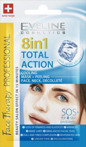 EVELINE - FACE THERAPY PROFESSIONAL - TOTAL ACTION - Odmładzająca maseczka z peelingiem do twarzy, szyi i dekoltu - Efekt Krio - 8 ml