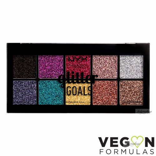 NYX Professional Makeup - GLITTER GOALS CREAM PRO PALETTE - Paleta brokatów do powiek