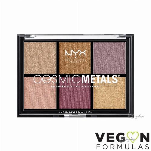 NYX Professional Makeup - COSMIC METALS SHADOW PALETTE - Paleta 6 metalicznych cieni do powiek