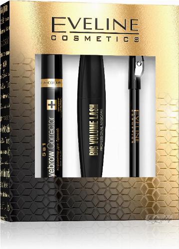 EVELINE - Cosmetics Gift Set - Zestaw prezentowy kosmetyków do makijażu oczu - Big Volume Lash Mascara + Eyeliner Pencil + Eyebrow Corrector 5in1