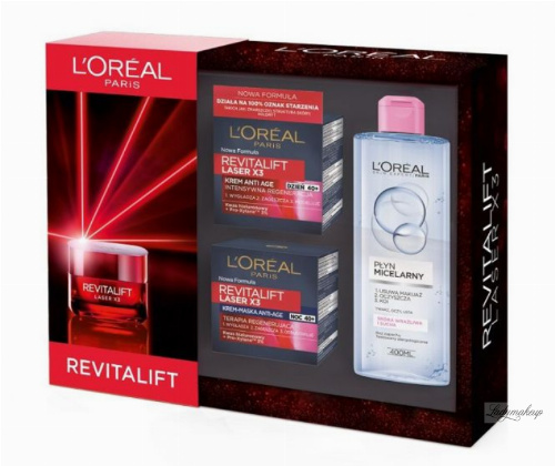 L'Oréal - REVITALIFT - Gift set of face care cosmetics - Intensively regenerating face cream for the day + Night cream-mask + Micellar liquid