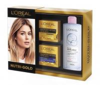 L'Oréal - NUTRI-GOLD - Zestaw prezentowy kosmetyków do pielęgnacji twarzy - Krem-olejek do twarzy + Krem-maska na noc + Płyn micelarny