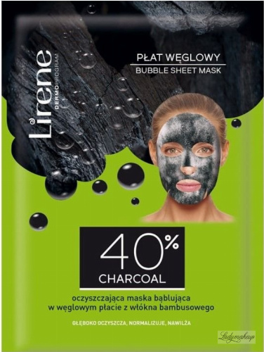 Lirene - BUBBLE SHEET MASK - Oczyszczająca, bąblująca maska na bambusowym płacie z dodatkiem węgla