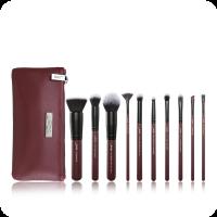 JESSUP - LUXURY SERIES KIT - Zestaw 10 pędzli do makijażu + Kosmetyczka - Plum Queen Set - T259 + CB004