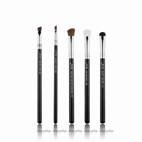 JESSUP - Pro Brushes Set - Zestaw 5 pędzli do makijażu - T302 Black/Silver