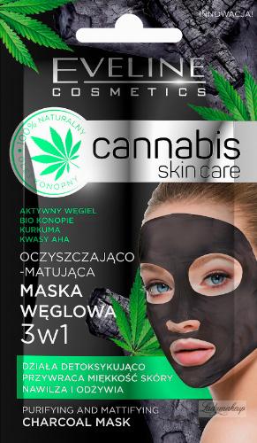 EVELINE - Cannabis Skincare Mask - Oczyszczająco-matująca maska węglowa 3w1 - 7 ml