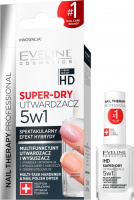 Eveline Cosmetics - NAIL THERAPY PROFESSIONAL - SUPER DRY - Multifunctional hardener and dryer 5in1 - 12 ml
