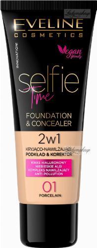 Eveline Cosmetics - SELFIE TIME - FOUNDATION & CONCEALER - Kryjąco-nawilżający podkład i korektor do twarzy - 30 ml