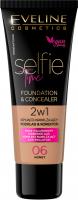 Eveline Cosmetics - SELFIE TIME - FOUNDATION & CONCEALER - Kryjąco-nawilżający podkład i korektor do twarzy - 30 ml - 06 - HONEY - 06 - HONEY