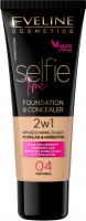 Eveline Cosmetics - SELFIE TIME - FOUNDATION & CONCEALER - Kryjąco-nawilżający podkład i korektor do twarzy - 30 ml - 04 - NATURAL - 04 - NATURAL