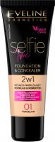 Eveline Cosmetics - SELFIE TIME - FOUNDATION & CONCEALER - Kryjąco-nawilżający podkład i korektor do twarzy - 30 ml - 01 - PORCELAIN - 01 - PORCELAIN