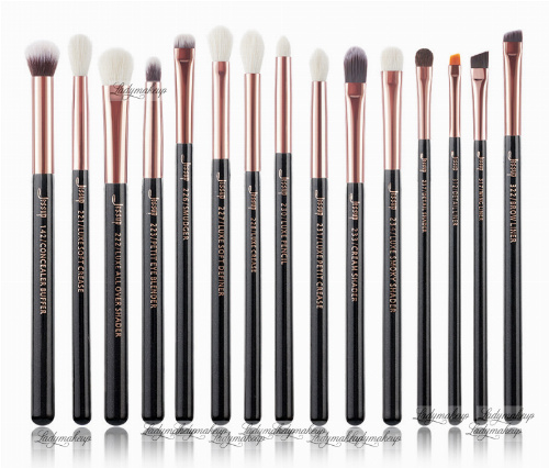 JESSUP - Individual Brushes Set - Zestaw 15 pędzli do makijażu - T157 Black/Rose Gold