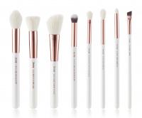 JESSUP - Individual Brushes Set - Set of 8 make-up brushes - T218 White / Rose Gold